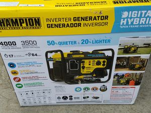 NEW Champion portable generator 4000 watts 17 hours runtime for Sale in Tracy, CA