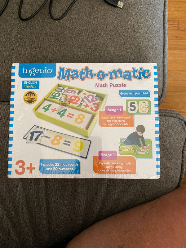 Math puzzle, Learn numbers, addition, subtraction in both English and Spanish.