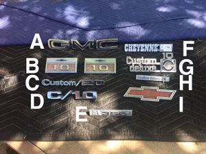 Chevy Gmc c10 c20 c30 truck emblem parts for Sale in Modesto, CA