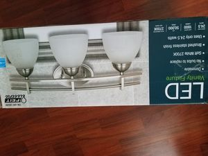 Feit Electric 3 Light LED Vanity Fixture - Dimmable - Brushed Stainless for Sale in Atlanta, GA