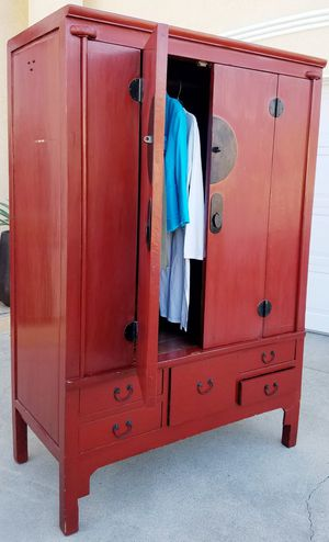 Antique Vintage Cordian Folding Doors Armoire Wardrobe Closet Media Display Storage Stand Unit + 5 Drawer + 1 Clothes Rod Organizer INCLUDED for Sale in Monterey Park, CA