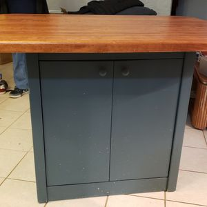 Wood Cherry Kitchen Table Top With 4 Counter Height Chairs/metal Storage for Sale in Windham, CT
