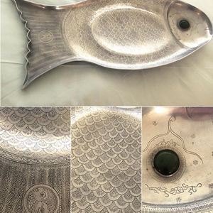 Original Vintage Style 1975 Arthur Court Aluminum Fish Platter - Dining & Entertaining China Plate Silver Metal for Sale in Scottsdale, AZ