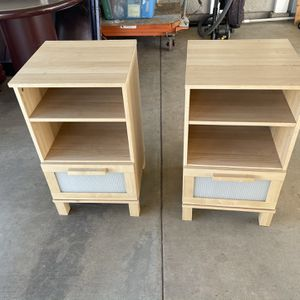 """Pre-Owned IKEA End Tables . H 28 1/2"""" W 16"""" D 16 One Stand Has A Small Screw Poking Up. Improvise :) Put Something Over It . for Sale in Bloomington, CA"""