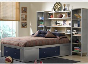 Metal Captains Platform Bed (Twin) with Bookshelves for Sale in Bonney Lake, WA