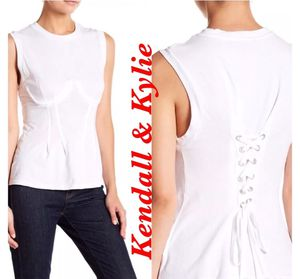 Kendall & Kylie Bustier Back Lace-Up Tank Top Shirt White SZ L NWT MSRP$ 88.00 for Sale in Boca Raton, FL