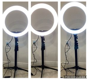 "10"" Selfie Ring Light with 59"" Extendable Tripod Stand & Flexible Phone Holder for Live Stream Makeup, Beam Electronics Desktop Led Camera Ringlight for Sale in Azusa, CA"