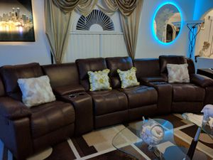 Leather living room sectional /sofa reclining set for Sale in Orlando, FL