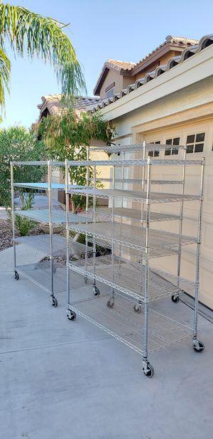 Tall Chrome Wire Bakers Racks shelf shelves on Wheels for Sale in Buckeye, AZ