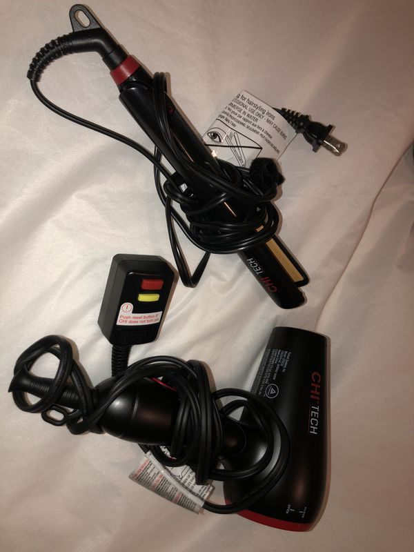 CHI tech Hair Dryer & Ceramic Hairstyling Iron - 2 piece travel set