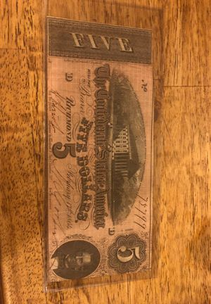CONFEDERATE states of America 5$ Note for Sale in Kirksville, MO