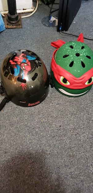 Spider man and Teenage Mutant Ninja Turtles kids bike helmets for Sale in Minot, ND