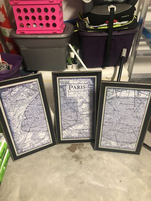 Paris paint canvas and map art for Sale in Land O' Lakes, FL