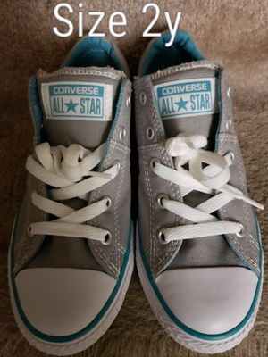 Gray/Teal Converse size 2 youth for Sale in Renton, WA