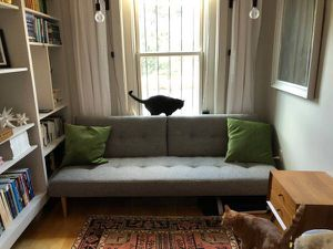 West Elm Mid-century Futon, Retro Weave, Feather Grey for Sale in Boston, MA