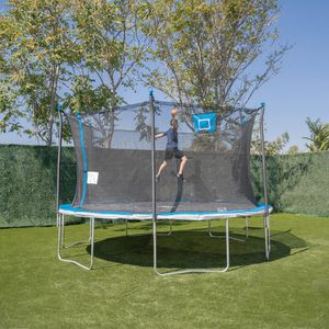 Bounce Pro 14ft Trampoline And Enclosure With Basketball Hoop, Blue for Sale in Carpinteria, CA