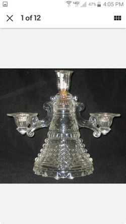"10.5"" VINTAGE CRYSTAL 3 TIER CANDELABRA W/DETAILED ETCHED DESIGN for Sale in Huntington Beach,  CA"
