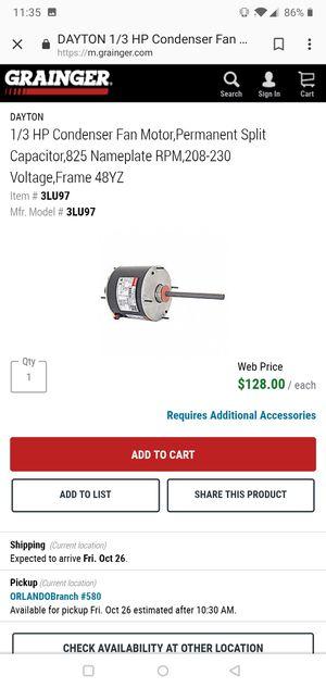 1/3 HP Condenser Fan Motor,Permanent Split Capacitor,825 Nameplate RPM,208-230 Voltage,Frame 48YZ for Sale in Orlando, FL