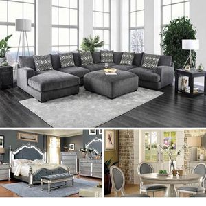 $6,499 3 ROOMS GRAY PKG 4- QUEEN BEDROOM SET 1- SECTIONAL 5- PCS ROUND DINING SET FREE MATTRESS INCLUDED TODAY WITH THIS PKG WE FINANCE Text 28 for Sale in Chino, CA
