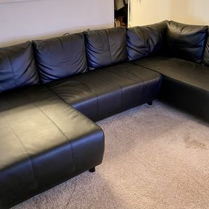 Large Black Leather Sectional Sofa for Sale in Portland, OR