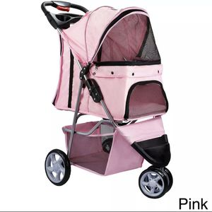 3 Wheels Pet Stroller Cat Dog Cage Stroller Travel Folding Carri pink for Sale in Compton, CA