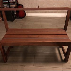 Brown Wooden Bench with Back Rest for Sale in Chula Vista, CA