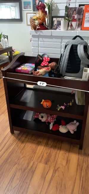 Baby toddler changing table wood dark brown for Sale in Fullerton, CA