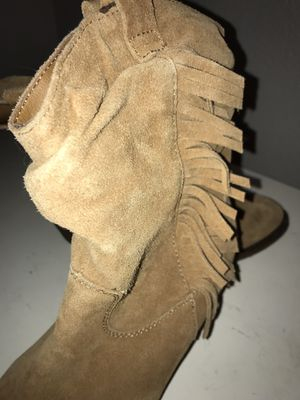 Light brown fringe boots with heel! for Sale in Littleton, CO