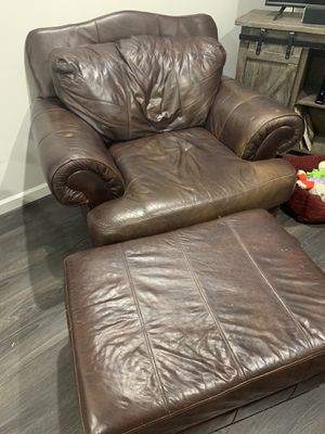 Leather chair & ottoman for Sale in Nashville, TN