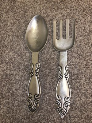 "Oversized large ~24"" silver spoon and fork kitchen wall decor new for Sale in San Marcos, CA"