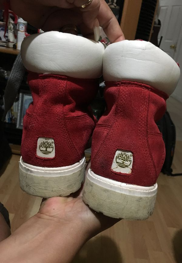 Red Timberlands boots size 11