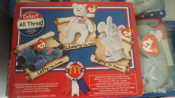 MCDONALD'S POLITICAL BEANIE BABIES RIGHT NEW