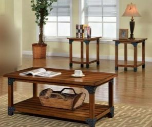 3 Pc Coffee Table Set with Shelf In Antique Oak Finish for Sale in West Covina,  CA