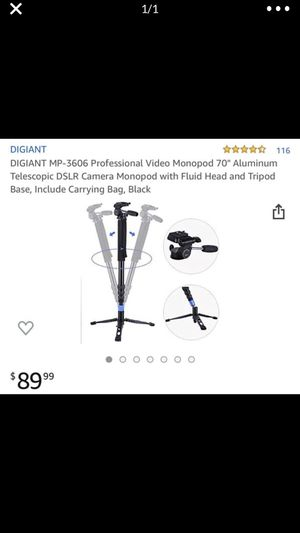 "DIGIANT MP-3606 Professional Video Monopod 70"" Aluminum Telescopic DSLR Camera Monopod with Fluid Head and Tripod Base, Include Carrying Bag, Black for Sale in Alhambra, CA"