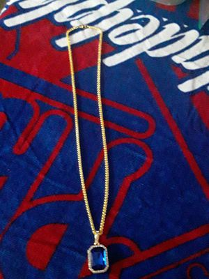 30 inch heavy gold plated rope style chain with icy blue gold plated cz charm. Great gift 70 obo for Sale in Mechanicsburg, PA