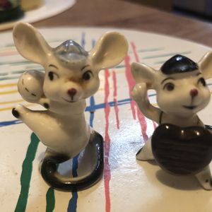 Vintage Bone China Japan Baseball Mice Catcher And Pitcher 1 1/2 Tall for Sale in Longwood, FL