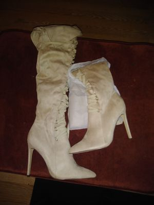 Beige thigh high laced boot heels for Sale in Tacoma, WA