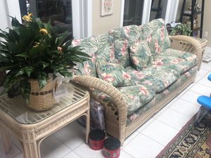 Couch w/pull out bed 2 tables chairs ottoman for Sale in Missouri City, TX