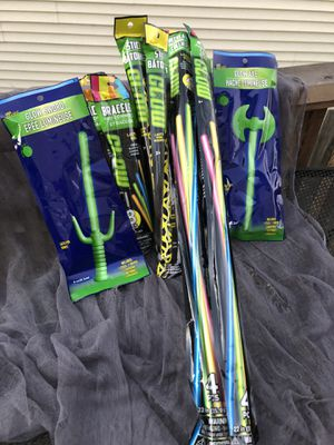 Glow sticks wands bracelets necklaces and play sword axe Halloween for Sale in Vancouver, WA