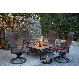 """New 5pc patio chat set with swivel Rocker chairs and 50"""" fire pit table for Sale in Boca Raton, FL"""