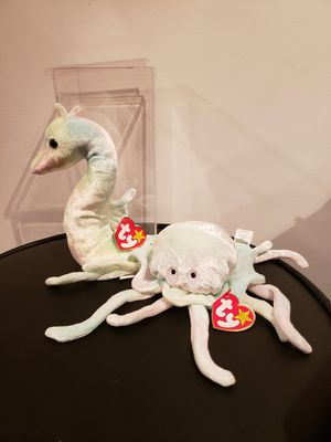 RETIRED Ty Beanie babies 1999 Neon Seahorse & 1998 Goochy Jellyfish for Sale in Toms River, NJ