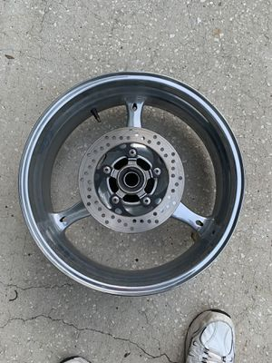 It says Suzuki written on the inside of the rim motorcycle rim selling for parts because I don't know anything about it for Sale in Palm Harbor, FL
