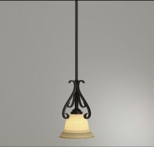 Progress Lighting Torino 1-Light Forged BronzeKitchen IslandMini Pendant with Tea-Stained Glass for Sale in Houston, TX