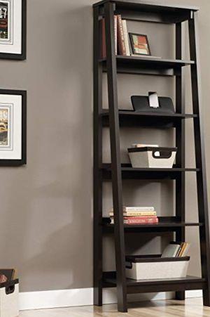 New!! Bookcase, bookshelves, organizer, storage unit, 5 shelves ladder bookcase, living room furniture, entrance furniture , jamocha wood finish for Sale in Phoenix, AZ