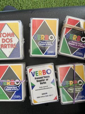 Verbos UNO games to learn Spanish for Sale in Irving, TX