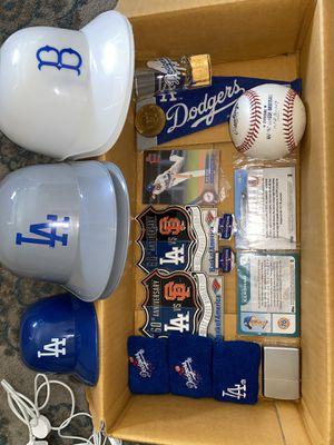 DODGERS COLLECTIBLES SHOT GLASS CARDS SCULLY COIN PINS ZIPPO GAME BALL AND OTHER CARS for Sale in El Monte, CA
