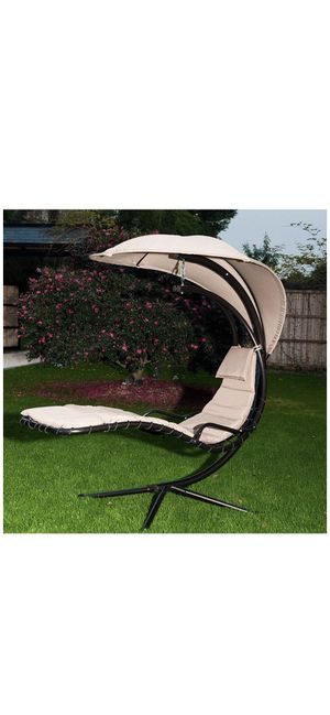 SunLife Porch Swing Patio Hanging Chaise Sling Hammock Lounger Chair with Arc Stand, Canopy, Cushion Beige Backyard yard garden patio deck for Sale in Ontario, CA