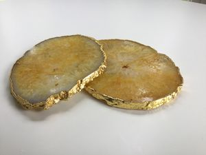 ANTHROPOLOGIE agate crystal drink coasters with gold edge (pair) for Sale in Salem, OR