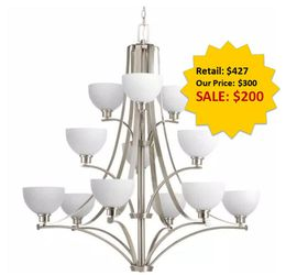 Legend Collection 12-Light Brushed Nickel Chandelier with Sculpted Glass NEW for Sale in Davie,  FL