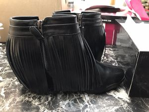 Ashley Stewart Fringed Black Booties size 9 for Sale in Schaumburg, IL